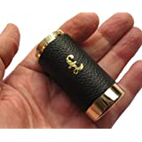 6 x One Pound £1 Coin Holder Gadget Holds Up to 15 Coins Gold & Black Leather