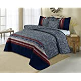 SleepyNights Love2Sleep LIGHTWEIGHT COTTON RICH 5 PIECES ORIENTAL PRINTED COMFORTER BEDSPREAD SET - MARRAKESH