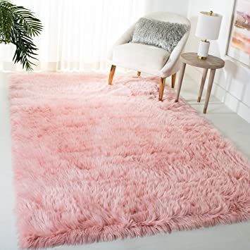 Amazon Com Safavieh Faux Sheep Skin Collection Fss235g Silken Glam 2 35 Inch Thick Area Rug 5 X 7 Pink Furniture Decor