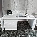 White Club Schreibtisch Snake, großer, moderner Computertisch ...