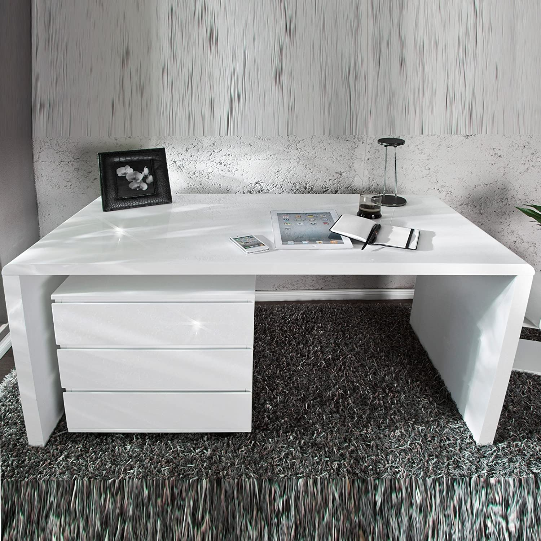 Schreibtisch weiß hochglanz 140  MODERNER DESIGN SCHREIBTISCH