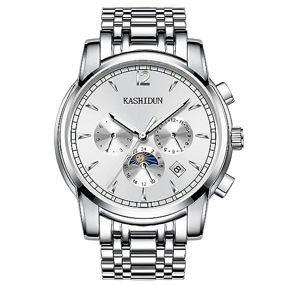 Kashidun Hombres del reloj mecánico multi-functions luminoso impermeable muñeca de blancos automático relojes. tl1-gb: Amazon.es: Relojes