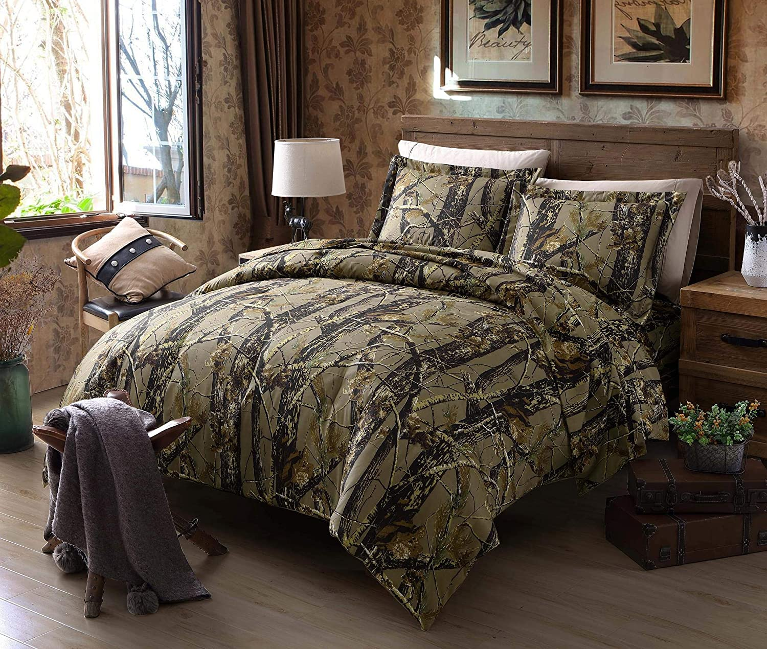 Chezmoi Collection Salem 3-Piece Forest Woods Duvet Cover Set - Nature Camo Tree Leaves Printed Soft Microfiber Comforter Cover with Button Closure - Natural, Queen