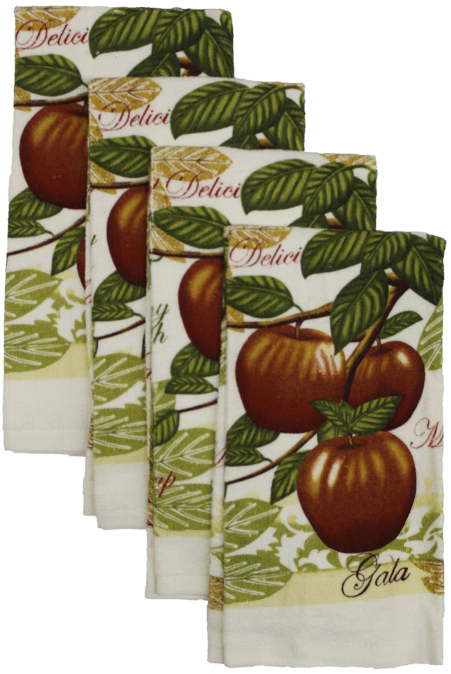 Set of 4, 100% Cotton Everyday Basic Printed Terry Kitchen Towels Size : 15'' x 25'' - Gala Apple Print