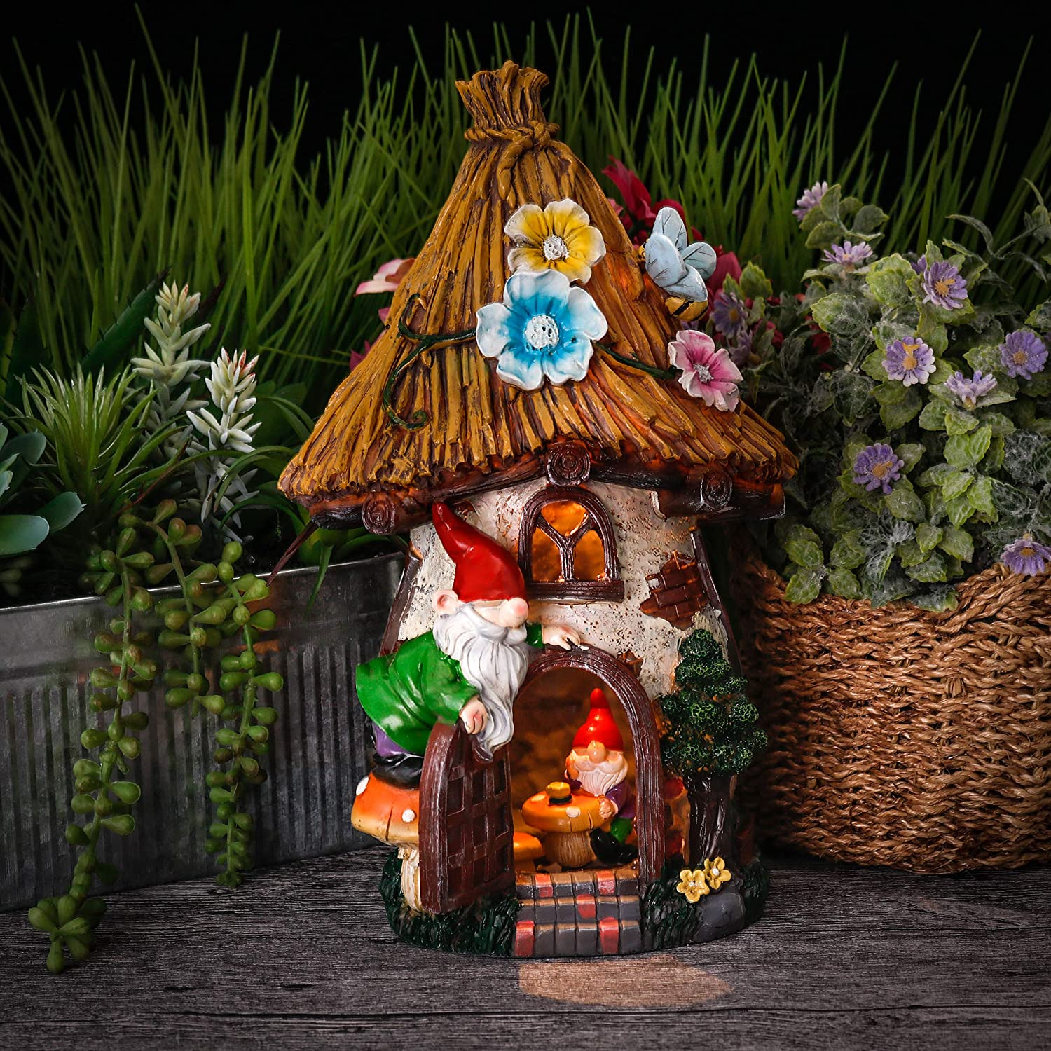 TERESA'S COLLECTIONS 12.2 Inch Fairy Garden House Statues with Gnomes, Solar Powered Garden Lights Garden Figurines for Outdoor Patio Yard Decorations (Resin)
