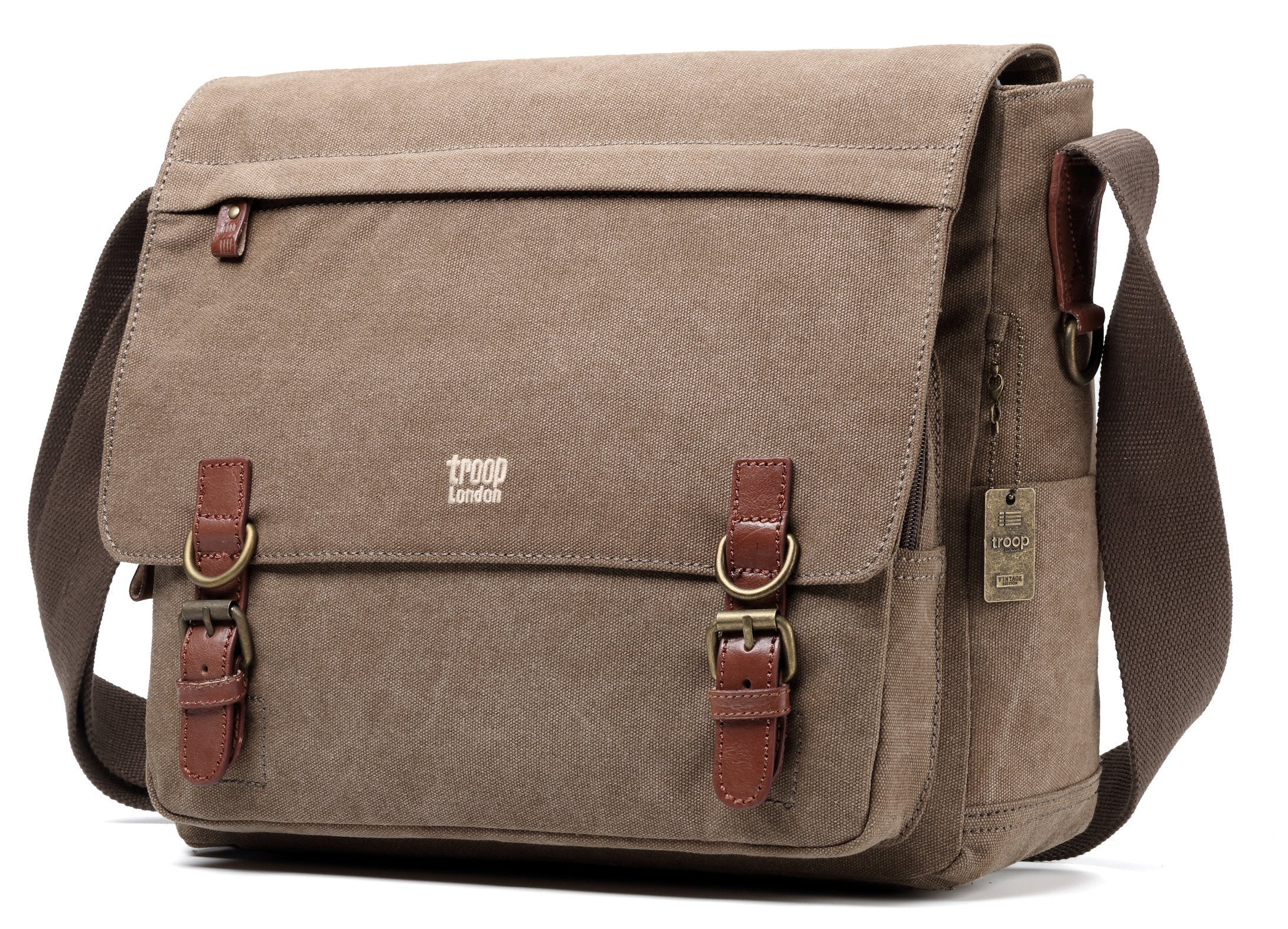 Troop London Canvas Messenger Bag Fits Up To 17 Inch Laptop Size Large TRP0207