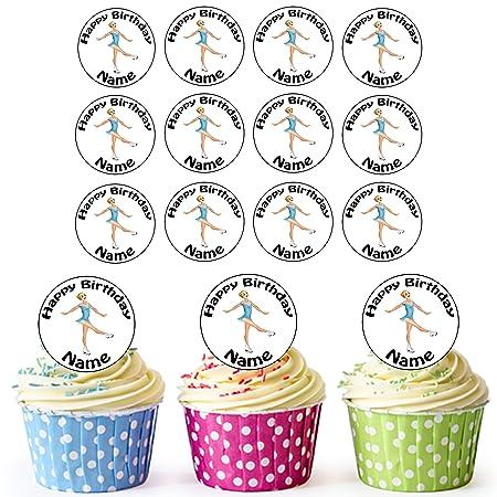 24 de patinador sobre hielo personalizado comestible cupcake ...