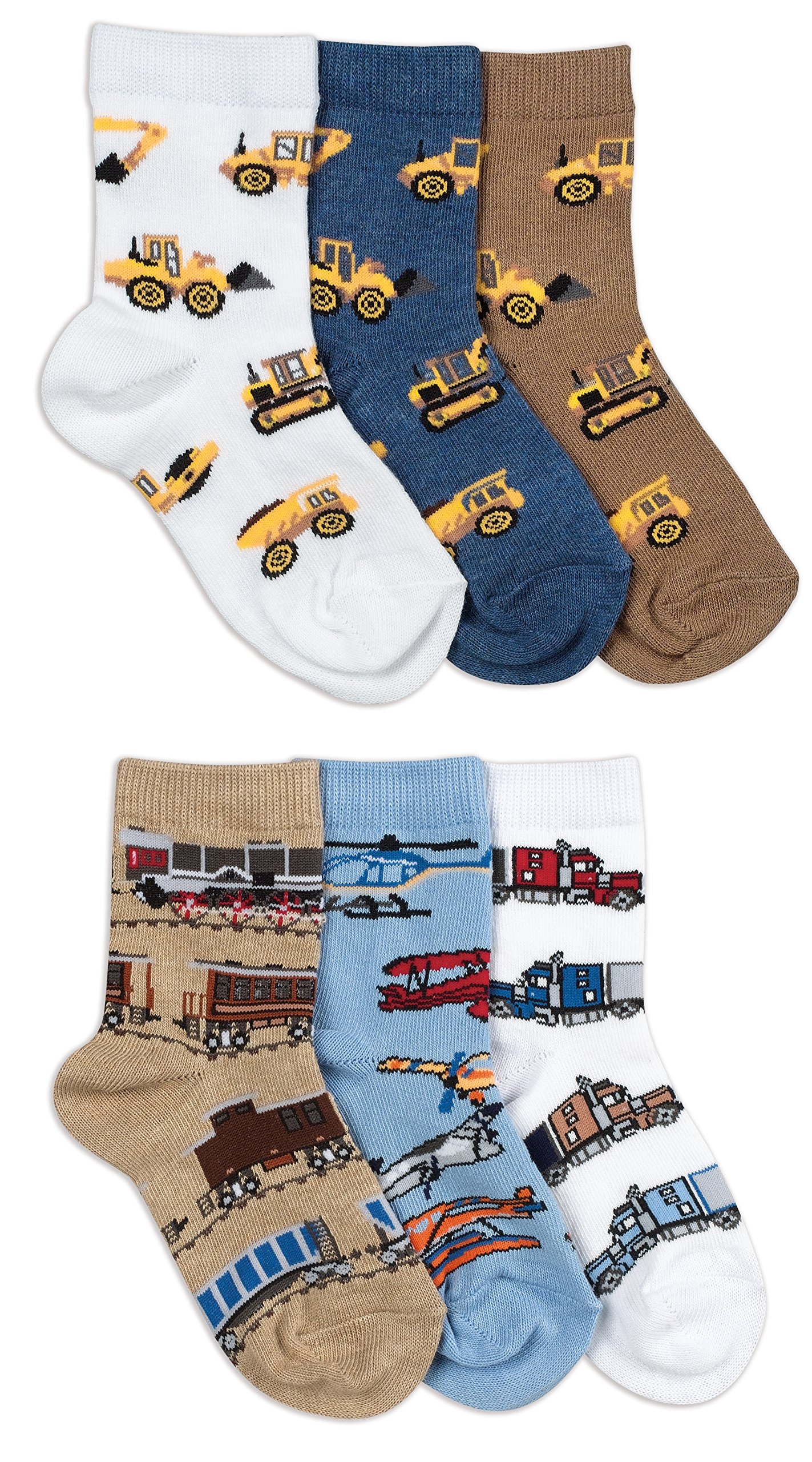Jefferies Socks Boys Construction/Transportation Pattern Socks 6 Pair Pack (S - USA Shoe 9-1 - Age 3-7 Years)