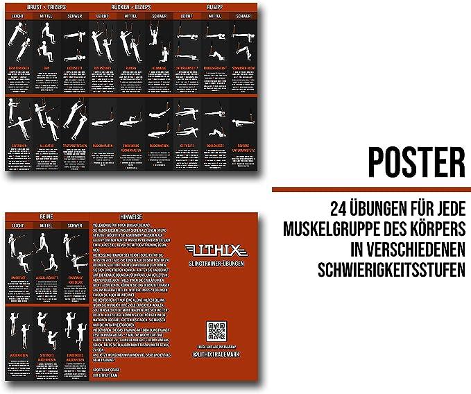LITHIX Schlingentrainer Suspension f/ür Training Zuhause und im Au/ßenbereich Slingtrainer Trainer-Set mit T/üranker f/ür Fitness-Ganzk/örpertraining