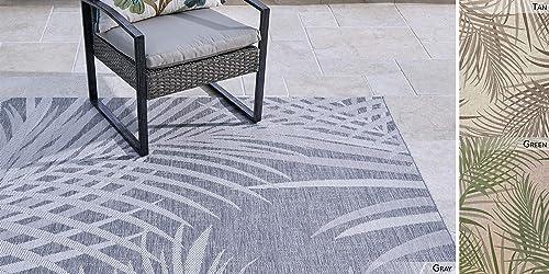 Gertmenian Outdoor Rug Tropical Collection Simple Exterior Patio Carpet 6×9 Medium Sequoia Leafs Gray