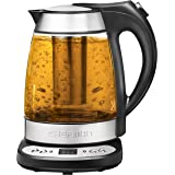 Chefman Electric Glass Digital Tea Kettle with FREE Tea Infuser, Built-In Precision Temperature Control Panel Base & Keep Warm Function, 1.7 Liter/1.8 Quart - RJ11-17-GP