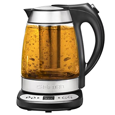 Chefman Electric Glass Digital Kettle with Free Tea Infuser, Built-in Precision Temperature Control & Keep Warm Function, 1.7L, Silver