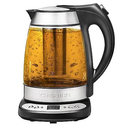 amazon com chefman electric glass digital kettle with free tea