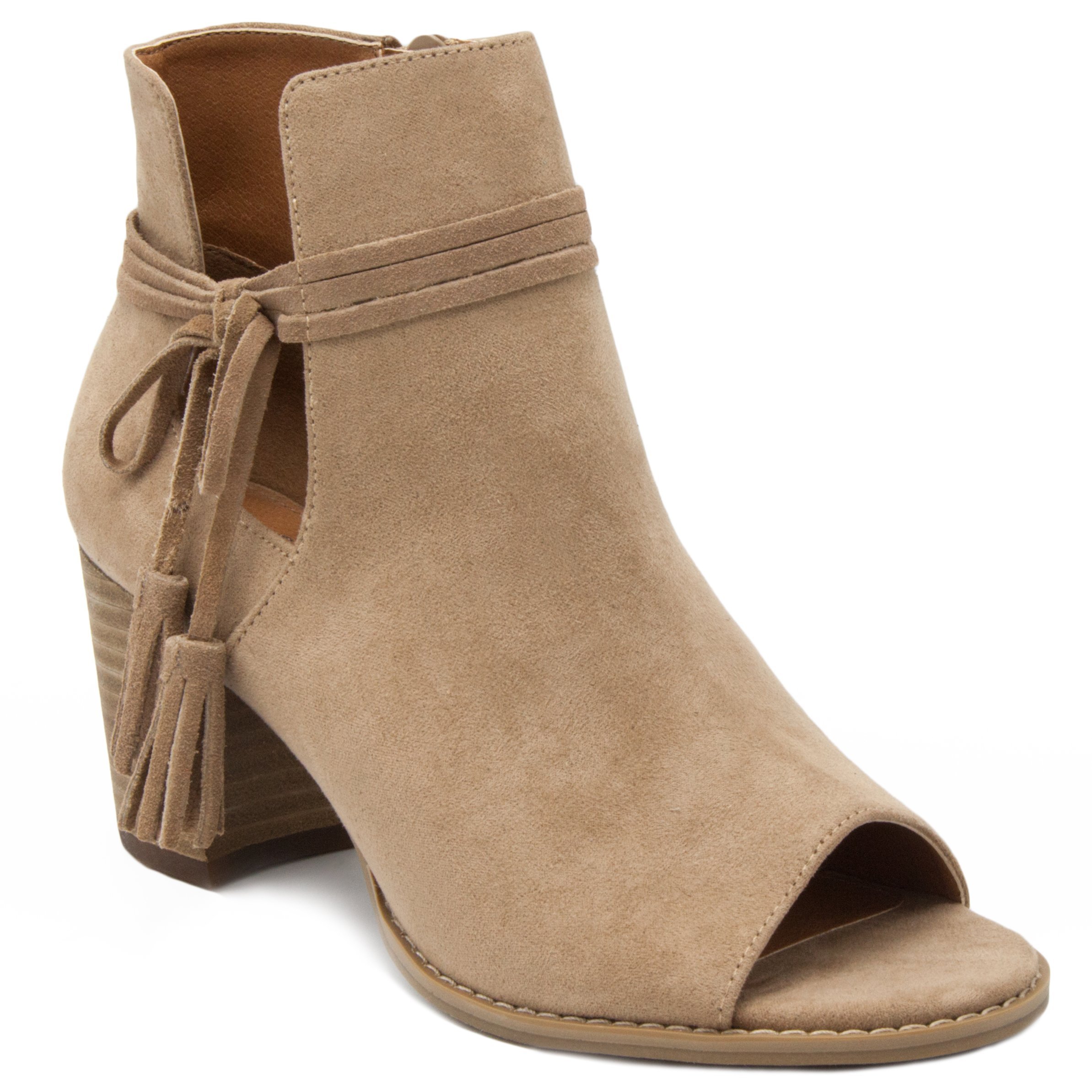 Mari A Women's Alana Tasseled Ankle Boot Peep Toe Bootie 11 Taupe Faux Suede