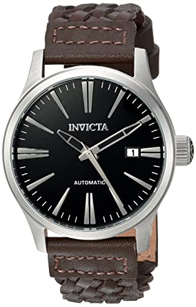 Invicta Men's 'I-Force' Automatic Stainless Steel and Leather Casual Watch,  Color