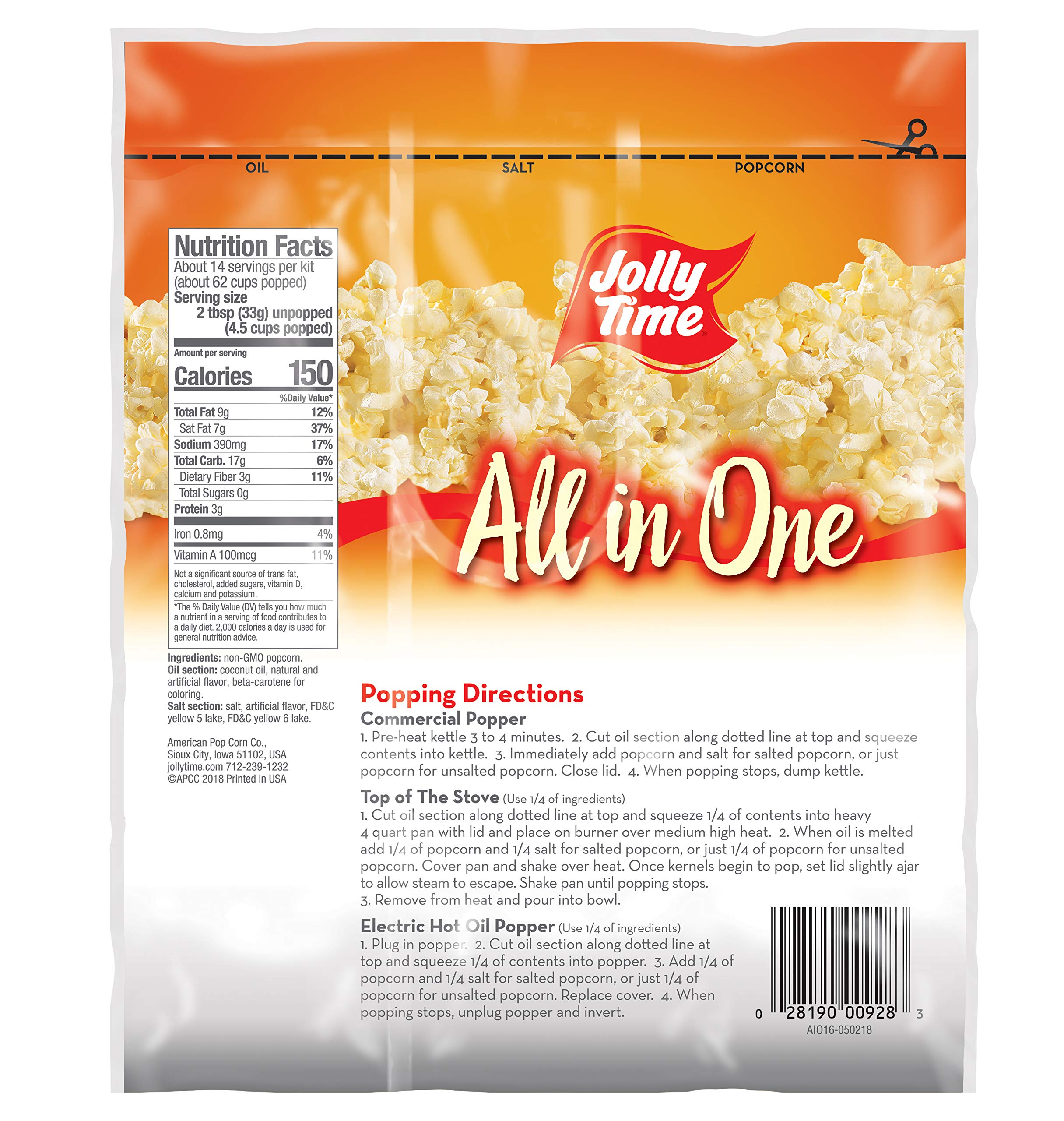 JOLLY TIME All in One Kit for 12 oz. Popcorn Machine | Portion Packet with Kernels, Oil and Salt Commercial, Movie Theater or Air Popper (Net Wt. 16 oz. Each, Pack of 24) by Jolly Time (Image #3)