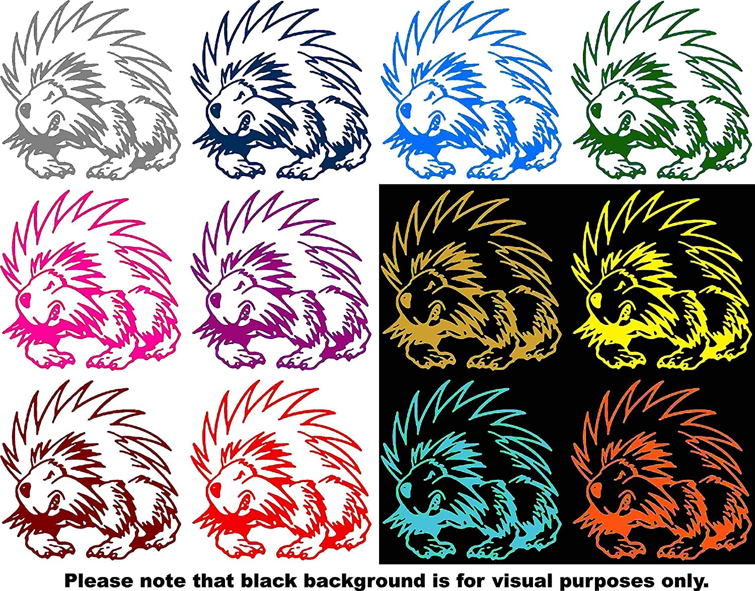 Animal Porcupine Car Window Tumblers Wall Decal Sticker Vinyl Laptops Cellphones Phones Tablets Ipads Helmets Motorcycles Computer Towers V and T Gifts