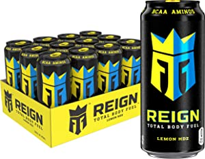 Reign Total Body Fuel, Lemon HDZ, Fitness & Performance Drink, 16 Fl Oz (Pack of 12)