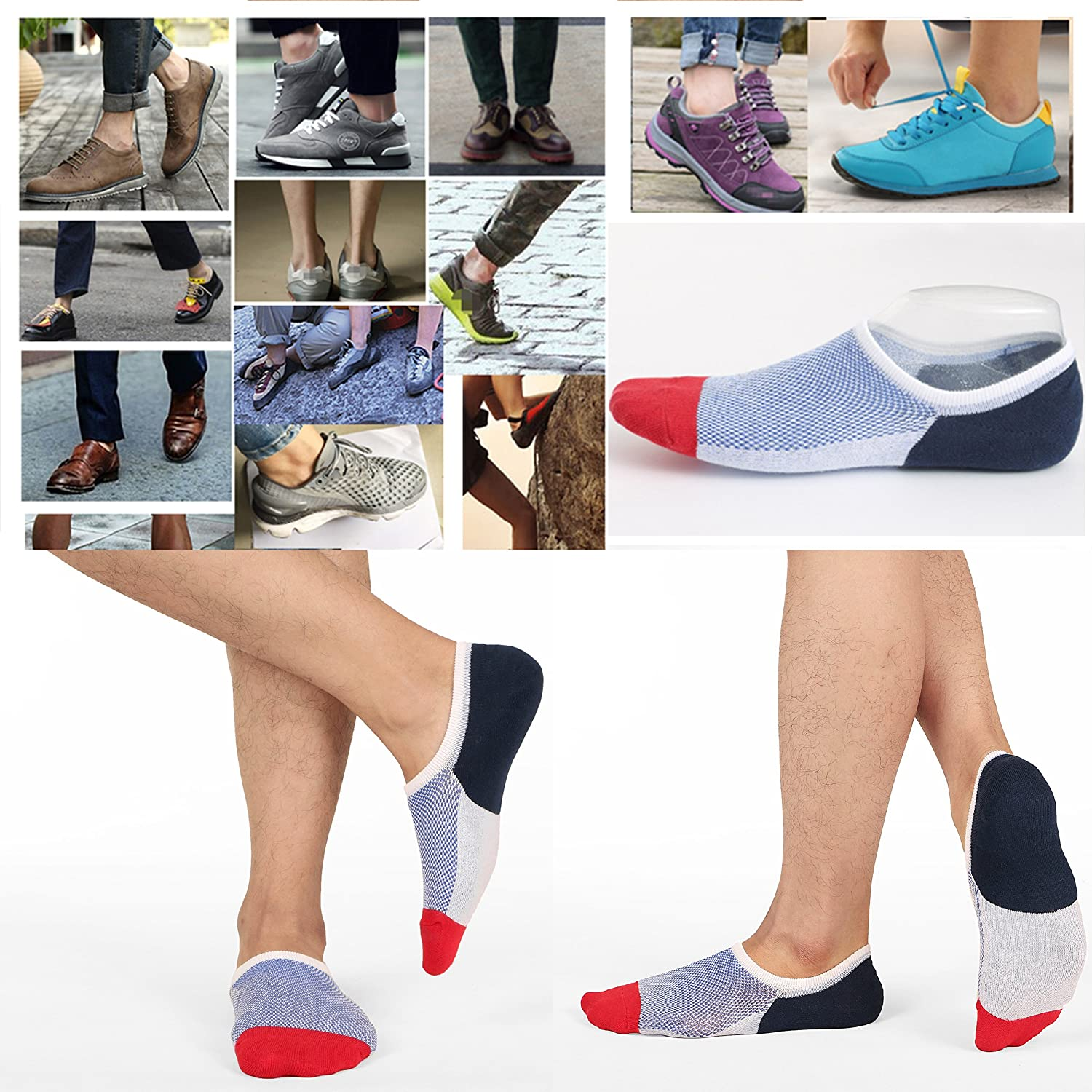 Mens No Show Socks Low Cut Ankle Casual Invisible Cotton Non-Slip Durable Socks 8-11/11-13/12-14 at  Men's Clothing store