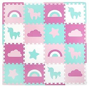 Tadpoles Baby Play Mat, Kid's Puzzle Exercise Play Mat – Soft EVA Foam Interlocking Floor Tiles, Cushioned Children's Play Mat, 16pc, Unicorns and Rainbows, Pink, 50x50