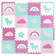 Tadpoles Soft EVA Foam 16pc Playmat Set, Unicorns and Rainbows, Pink, 50 x50