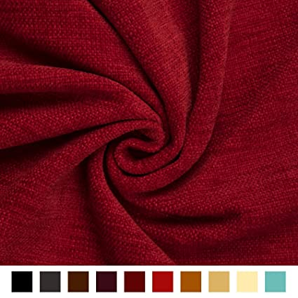 Textured Weaved Chenille Soft Upholstery Curtain Sofa New Red Material Fabric