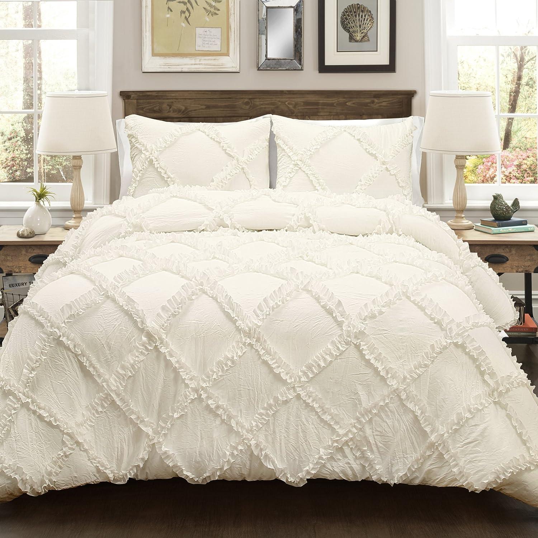 Lush Decor Lush Décor Ruffle Diamond 3 Piece Comforter Set, Full/Queen, Ivory