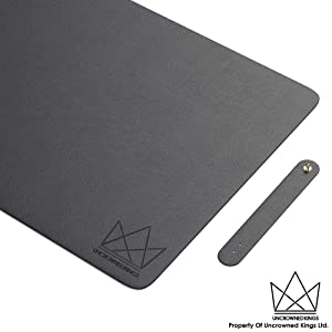 Uncrowned Kings Desk Pad - 31.5 X 15.7 Inches Premium Home Office Desk Mat Protector for Wooden, Glass Desktops - Black PU Leather - Waterproof - Extended Mouse Pad - Smooth for Writing – Desk Blotter
