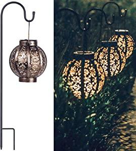 Retro Hanging Solar Lanterns, Solar Outdoor Lights Backyard Decor for Yard Tabletop Garden, 8 Lumens - 2Packs
