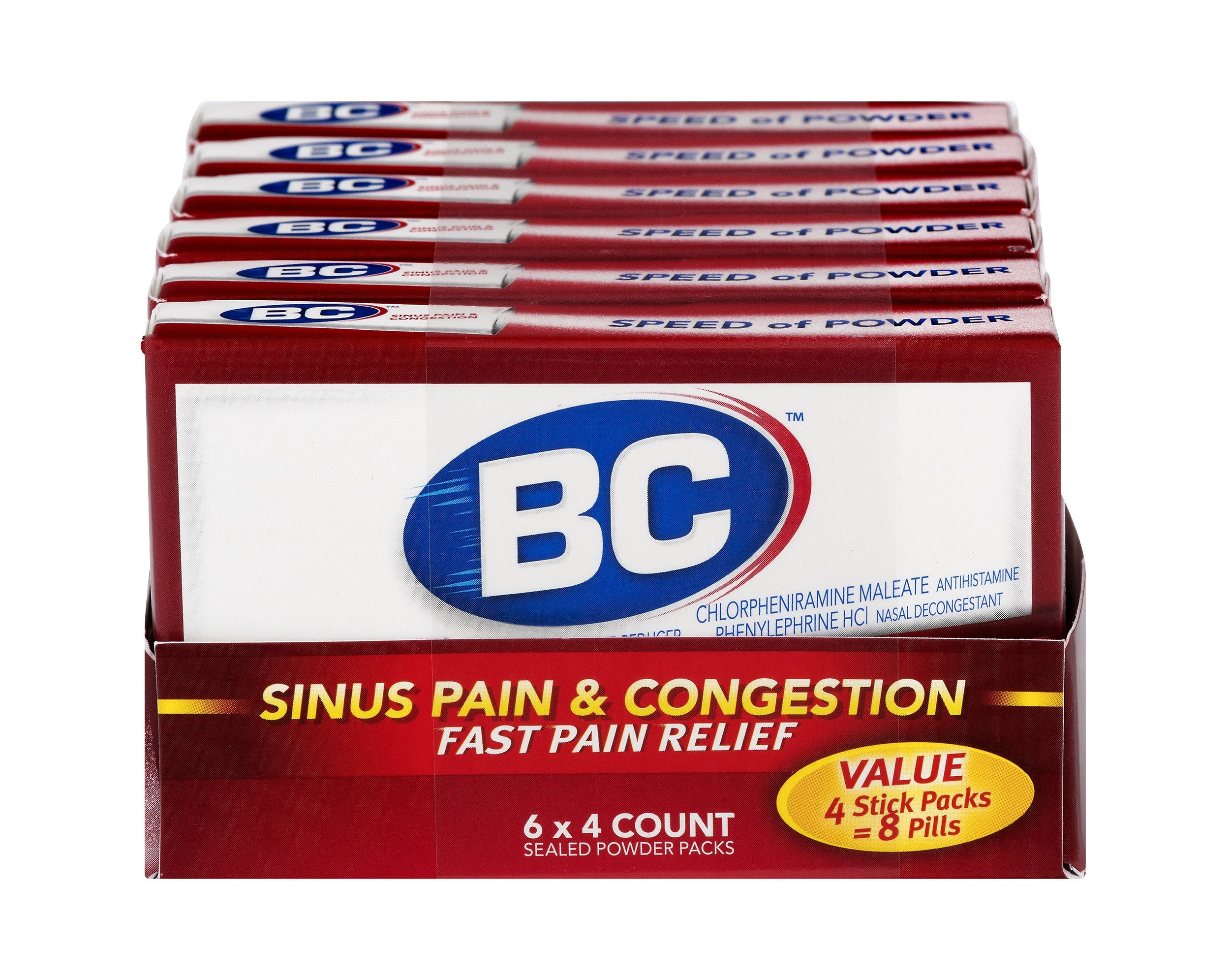 BC Sinus Pain & Congestion Powder Stick Packs 4ct | Pack of 6