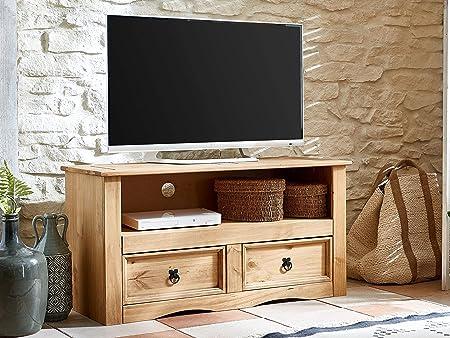 Sam® 521547 - Mueble para TV (Madera de Pino, 2 cajones, 108 x 44 cm), Color Negro: Amazon.es: Hogar