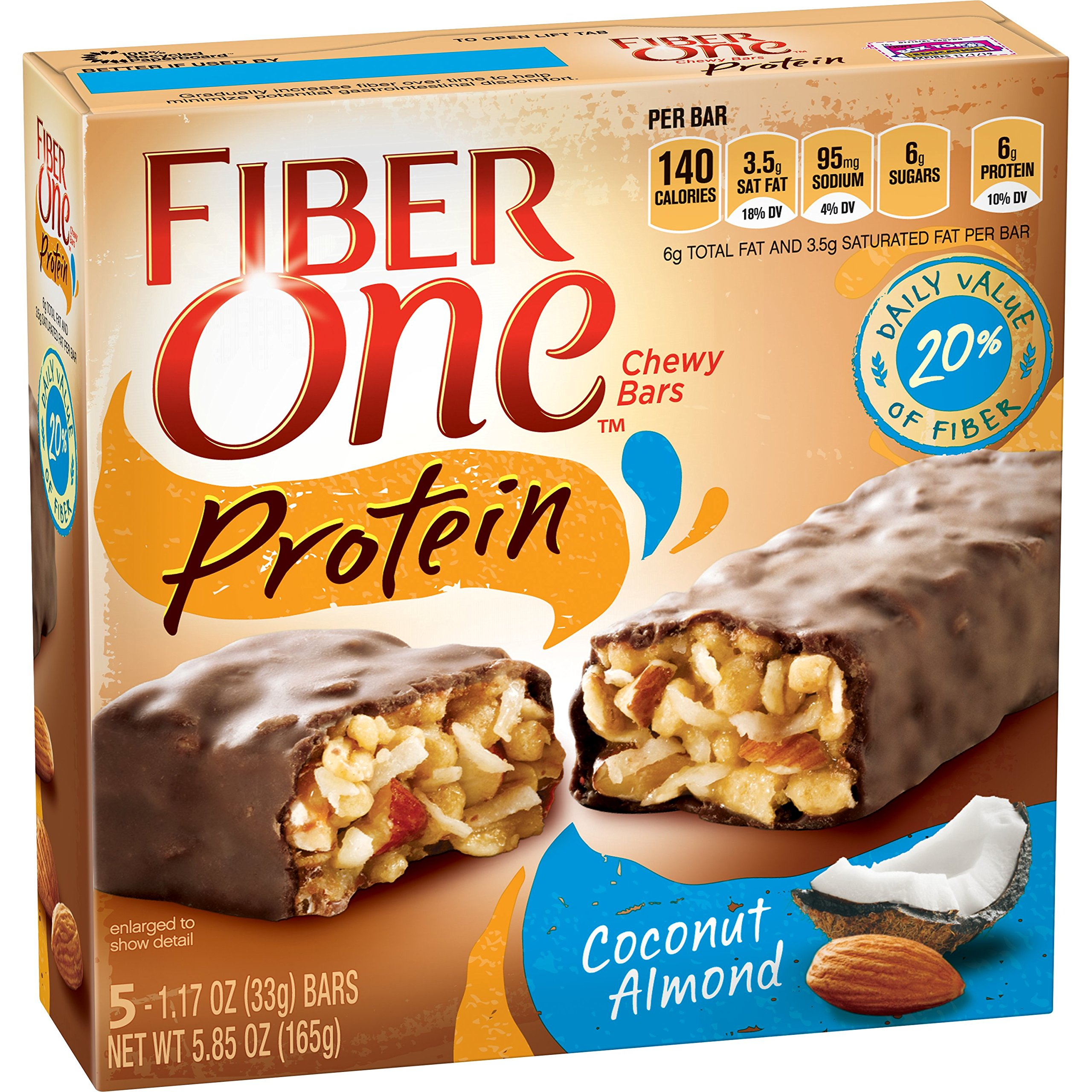 Fiber One Protein Bar, Coconut Almond Chewy Bars, 5 Fiber Bars, 5.85 oz (Pack of 6)
