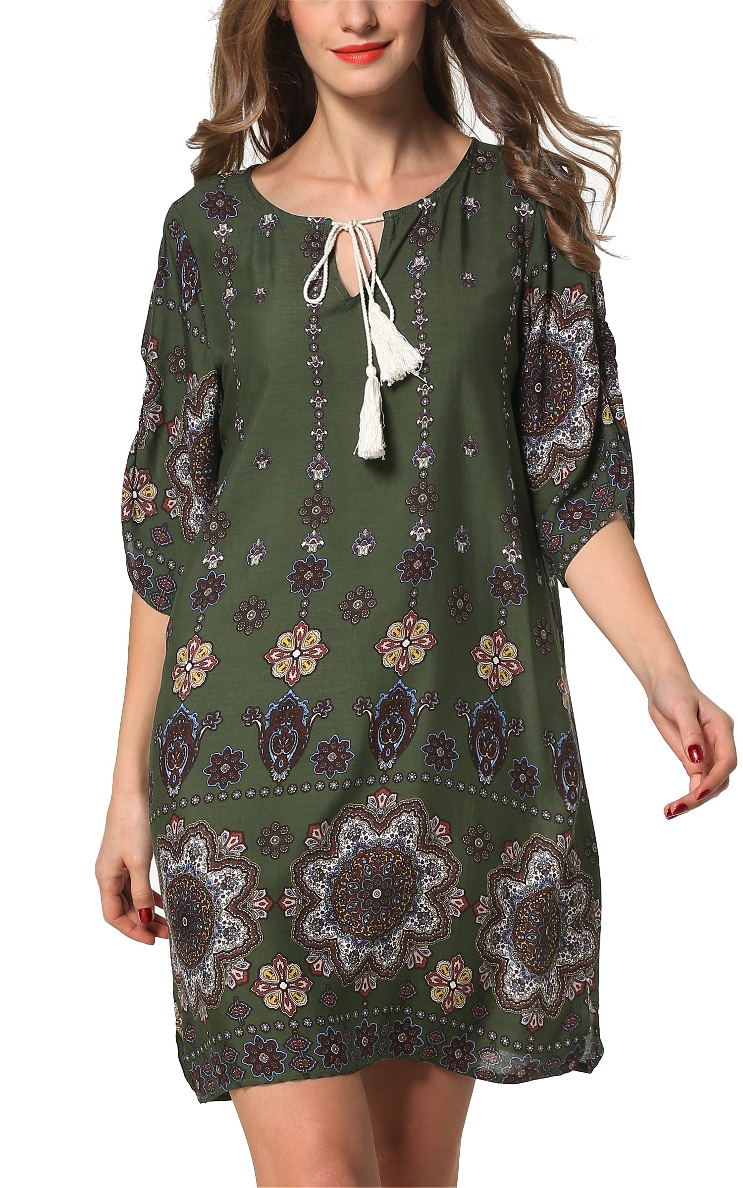 ARANEE Bohemian Neck Tie Vintage Printed Ethnic Style Summer Shift Dress