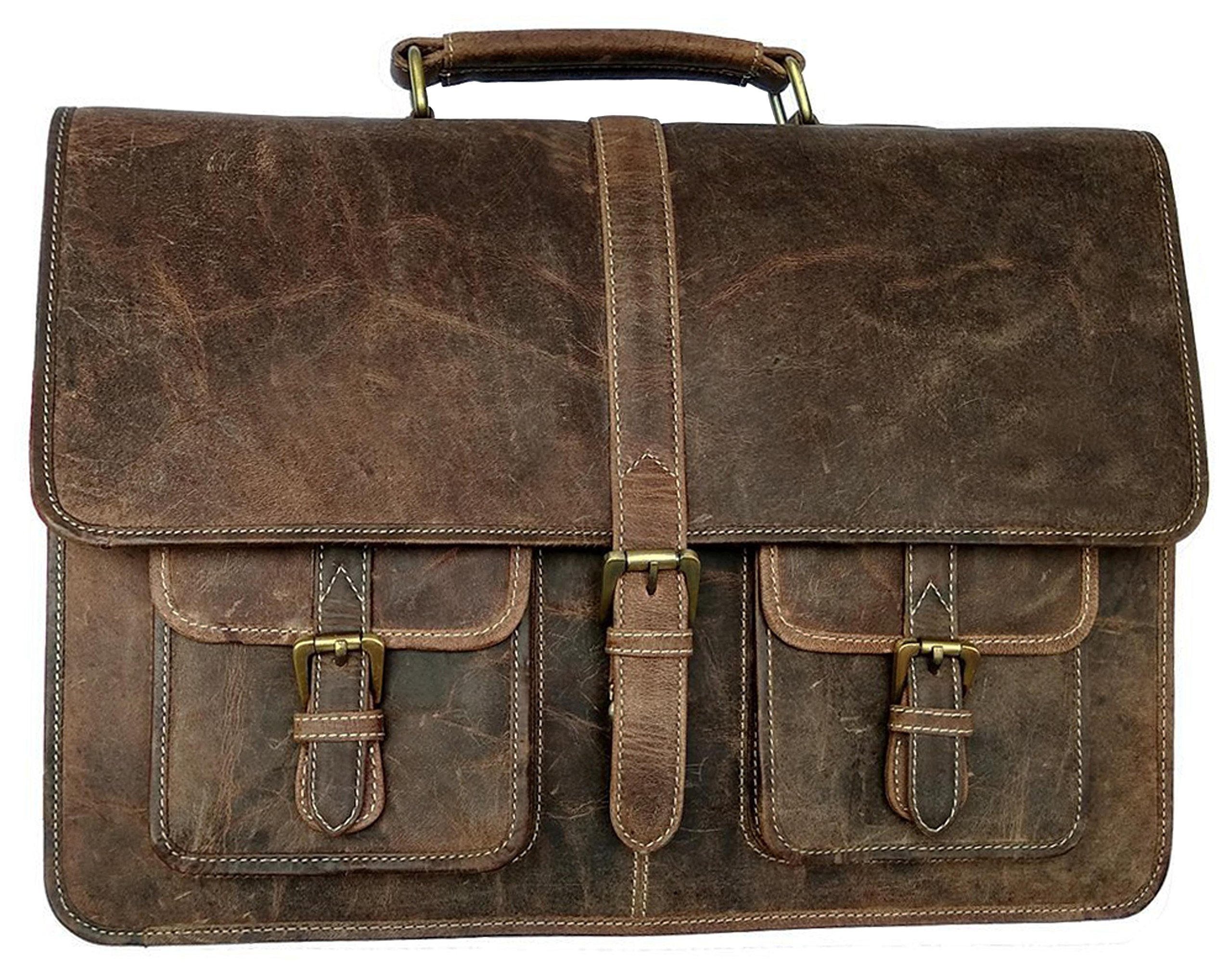 Kk's 16 Inch Leather Laptop Messenger Briefcase Bags For Men And Women