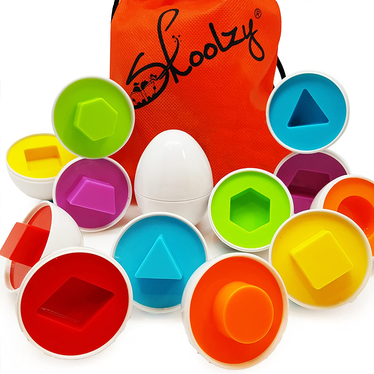 Skoolzy Shapes Toddler Games Egg Toy Learning Colors and Geometric Shapes Matching Preschool Toys Puzzles for 2, 3, 4 year olds - Montessori Fine Motor Skills Sorting Educational Easter Eggs and Bag