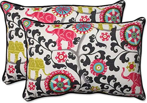 Pillow Perfect Outdoor Indoor Daelyn Cherry Oversized Lumbar Pillows, 24.5 x 16.5 , Red, 2 Pack