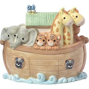 Precious Moments Overflowing with Love Noah's Ark Top Slot Porcelain Nursery Décor Baby Bank