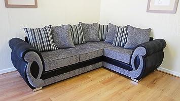 premium selection 95bf3 0353e Chloe Right Hand Corner Sofa Grey Chenille Fabric Striped ...