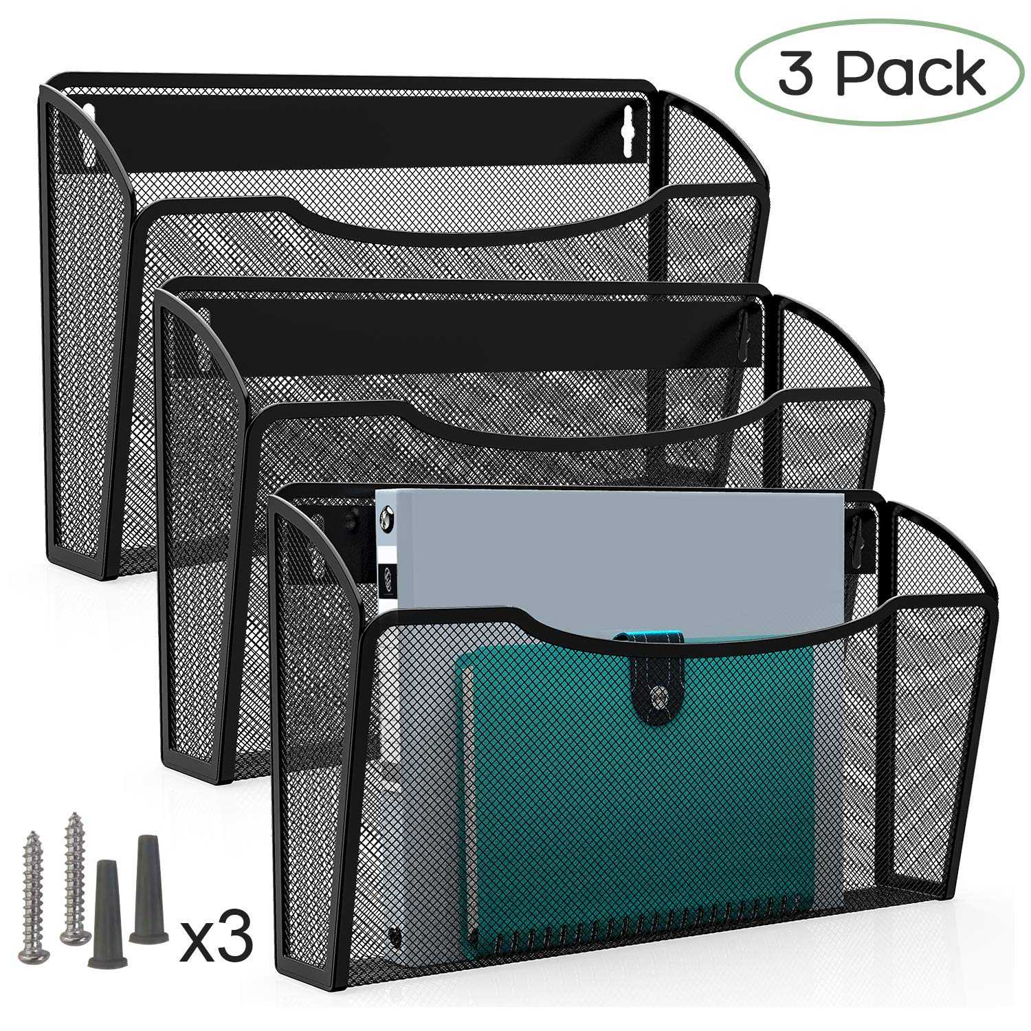 MaxGear 3 Pack Wall File Holder Hanging Wall Files Organizer Wall Hanging File Folders Mail Basket Wall Pocket Organizers Wall Mounted File Holders for Home and Office, Mesh Steel, Black by MaxGear