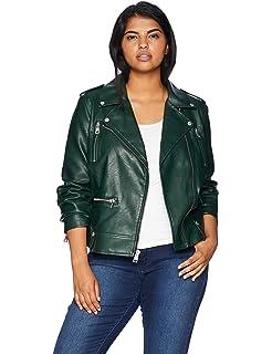 0356a5138af Ellos Women s Plus Size Faux Leather Moto Jacket at Amazon Women s ...