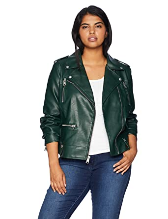 b5f21250b23 Levi s Size Women s Plus Faux Leather Contemporary Motorcycle Jacket at  Amazon Women s Coats Shop