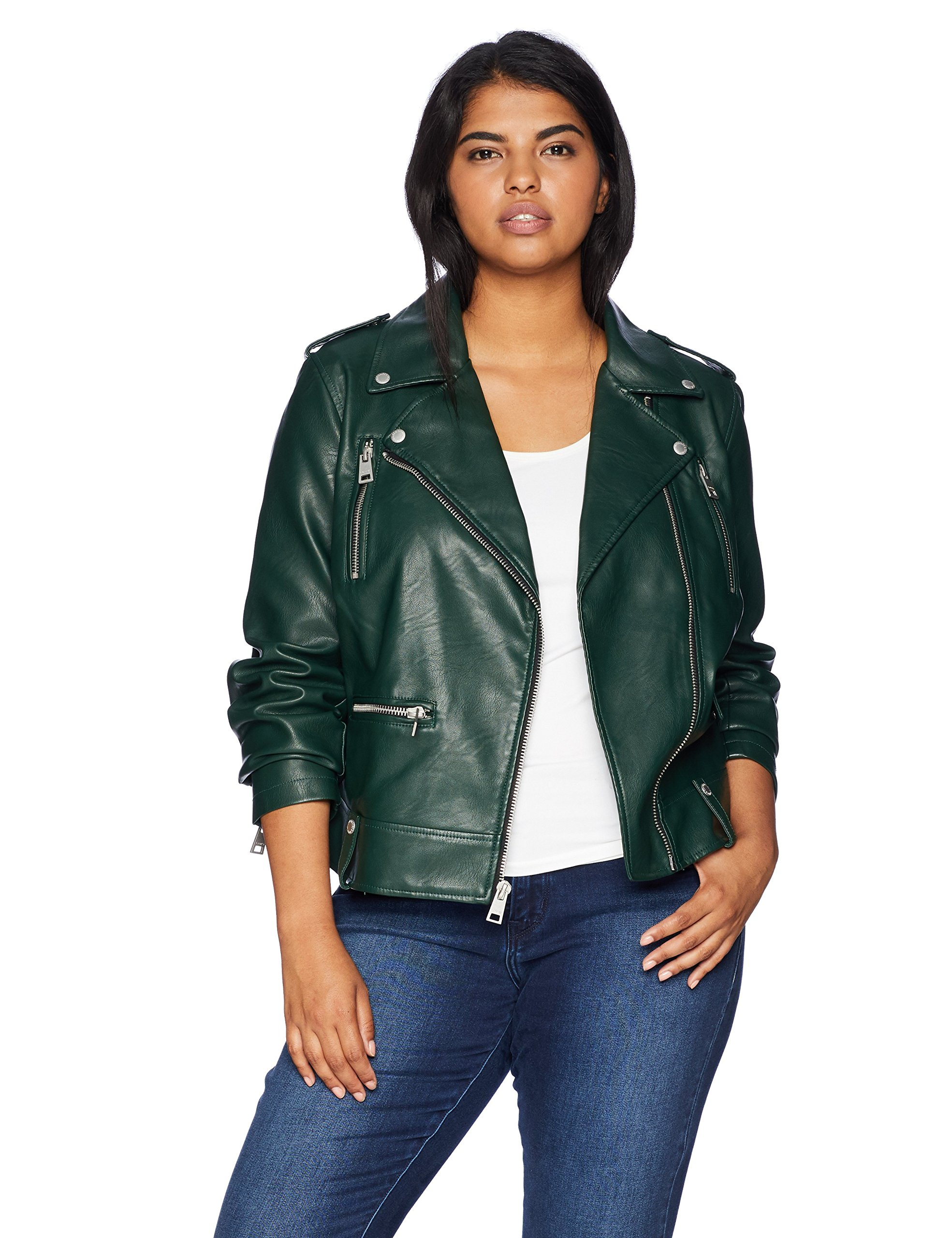 Levi's Women's Plus Size Faux Leather Contemporary Motorcycle Jacket, Hunter, 1X
