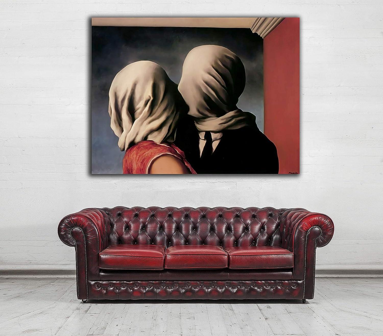 Desconocido Cuadro Lienzo Los Amantes de Rene Magritte – Varias Medidas - Lienzo de Tela Bastidor de Madera de 3 cm - Impresion Alta resolucion (80, 60)