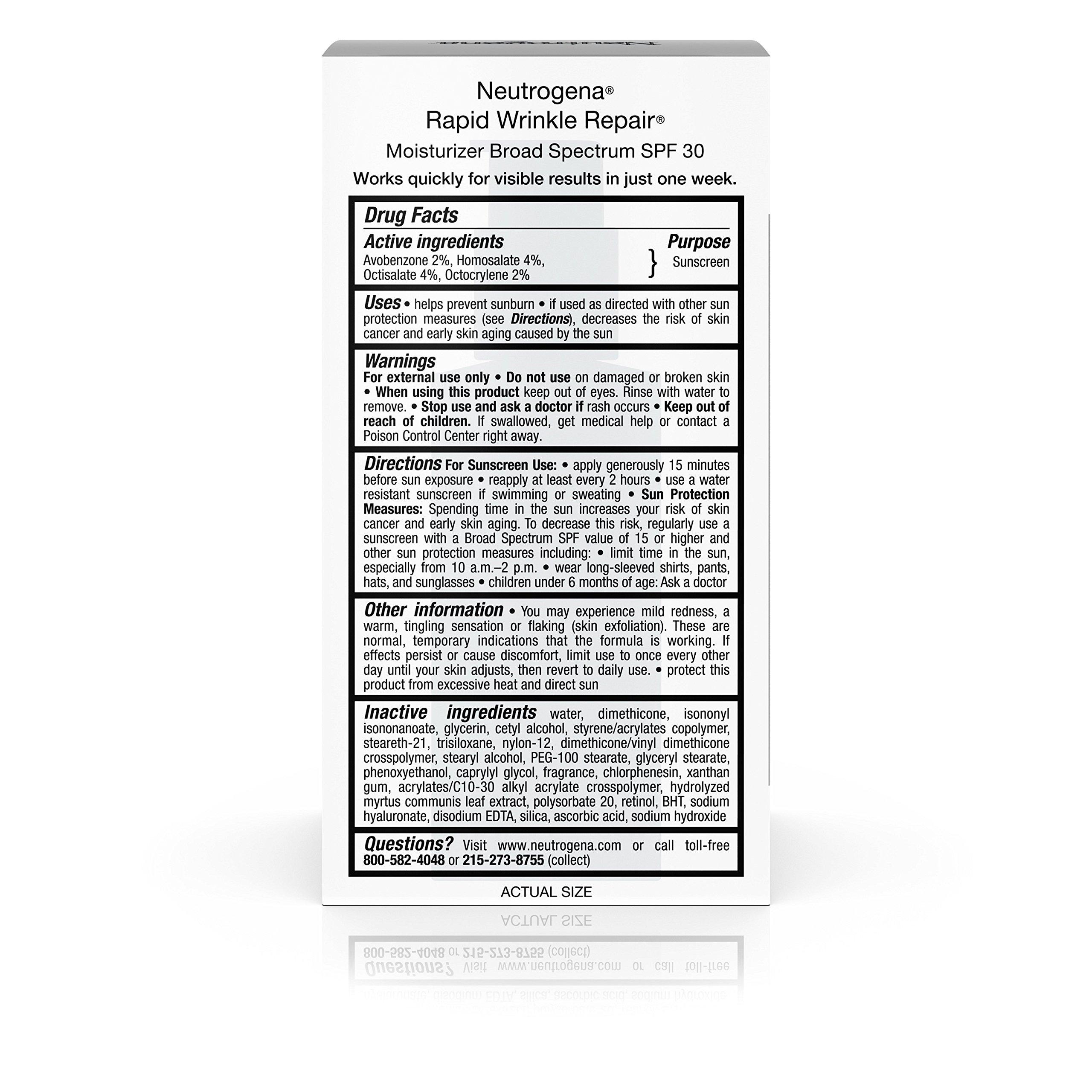 Neutrogena Rapid Wrinkle Repair Anti-Wrinkle Retinol Daily Face Moisturizer, with SPF 30 Sunscreen, 1 fl. Oz by Neutrogena (Image #6)