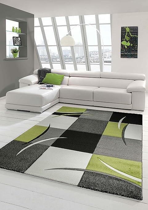 Salon Designer Tapis Contemporain Tapis, Moquette à Motif Diamant Contour  de Coupe Vert Gris Blanc Noir Größe 160x230 cm