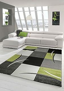 Designer Teppich Moderner Teppich Wohnzimmer Teppich Kurzflor Teppich Mit  Konturenschnitt Karo Muster Grün Grau Creme Schwarz