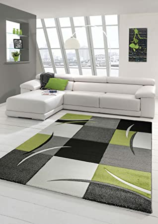 Elegant Designer Teppich Moderner Teppich Wohnzimmer Teppich Kurzflor Teppich Mit  Konturenschnitt Karo Muster Grün Grau Creme Schwarz