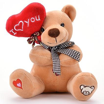Gloveleya Oso Peluche Sosteniendo Corazón Te Amo Juguetes Rellenos Amante Regalos Marrón 7