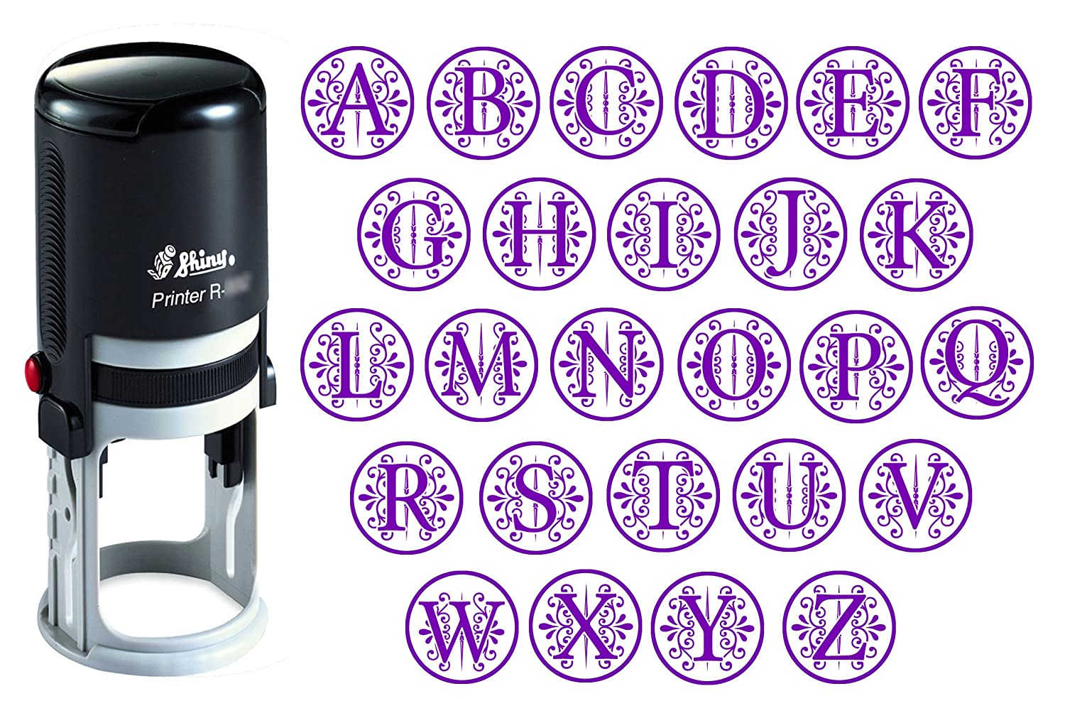 Custom A Z Alphabet Stamp In Violet Ink Monogram Round Rubber Self Inking Initial SHINY