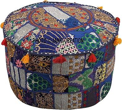 solo funda Indian decorativo puf Otomano Indian Home decorativo hecho a mano Vintage puf Otomano indio c/ómodo piso coj/ín de algod/ón otomano Pouf Indian bordado Patchwork Otomano cubierta
